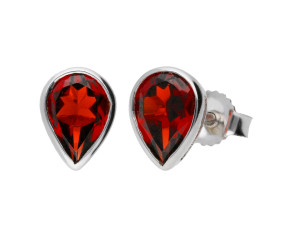 9ct White Gold 1.80ct Pear Garnet Solitaire Rub Over Stud Earrings