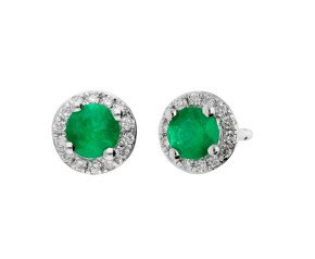 18ct White Gold Emerald & Diamond Cluster Earrings