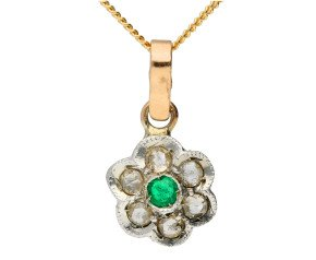 Handcrafted Italian Emerald & Diamond Floral Cluster Pendant
