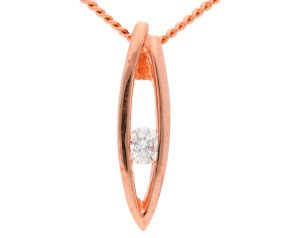 9ct Rose Gold Diamond Leaf Pendant