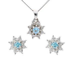 9ct White Gold 0.15ct Aquamarine & Diamond Cluster Earrings & Pendant Jewellery Set