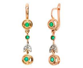 Handcrafted Italian 0.60ct Emerald & Diamond Fancy Drop Earrings