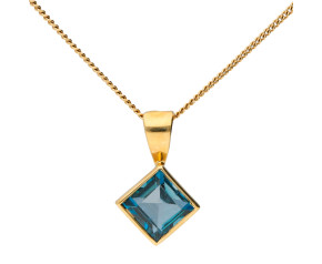 9ct Yellow Gold 5mm London Blue Topaz Solitaire Square Shape Pendant