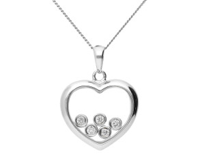 9ct White Gold 0.15ct Floating Diamond Heart Pendant