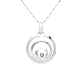 9ct White Gold Floating Diamond Circle Pendant
