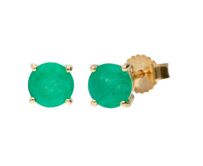 9ct Yellow Gold Round 1.30ct Emerald Solitaire Stud Earrings