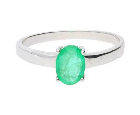 9ct White Gold 0.85ct Emerald Solitaire Ring