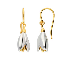Silver & Yellow Gold Vermeil Snowdrop Flower Drop Earrings