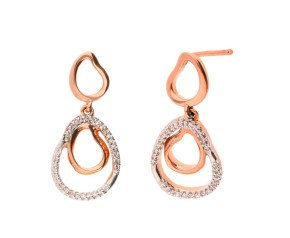 9ct Rose Gold & Diamond Organic Shaped Drop Earrings