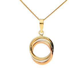 9ct Rose, White & Yellow Gold Circle Pendant