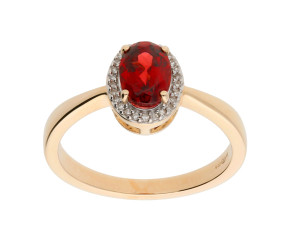 9ct Yellow Gold Garnet & Diamond Halo Ring