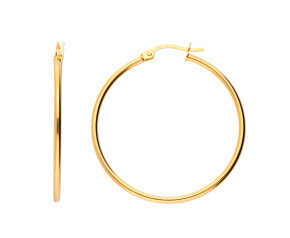 9ct Yellow Gold 30mm Sleeper Hoop Earrings