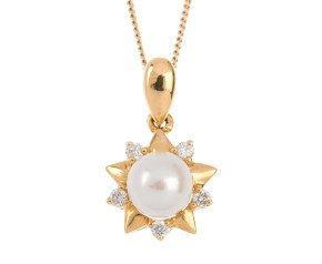 18ct Gold Pearl & Diamond Star Pendant