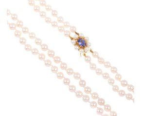 9ct Gold Pearl With Tanzanite Clasp Double Row Necklace