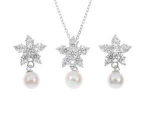 Sterling Silver Pearl Star Earrings & Pendant Set