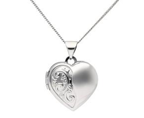 9ct White Gold Heart Locket