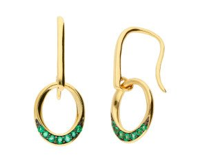 9ct Yellow Gold Emerald Drop Earrings
