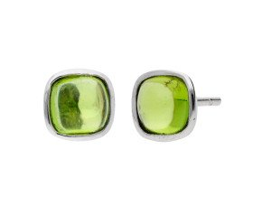 9ct White Gold Peridot Solitaire Stud Earrings