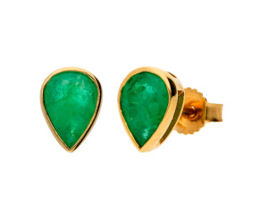 9ct Yellow Gold 1.30ct Pear Emerald Solitaire Stud Earrings