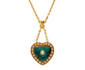 Vintage 15ct Yellow Gold Green Enamel & Split Pearl Pendant