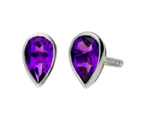 9ct White Gold 0.45ct Pear Amethyst Solitaire Stud Earrings