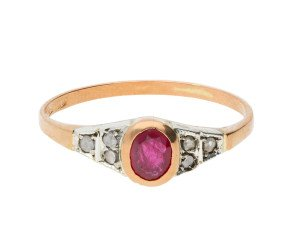 Handcrafted Italian 0.45ct Ruby & Diamond Ring