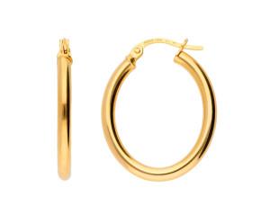 9ct Yellow Gold Oval Hoop Earrings