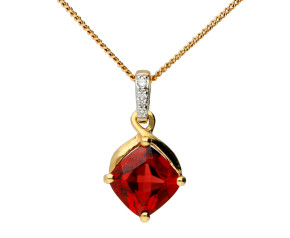 9ct Yellow Gold Garnet & Diamond Pendant