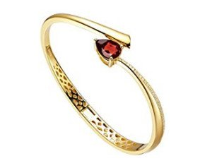 Sterling Silver & Yellow Gold Vermeil Garnet Shooting Star Bangle