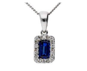 18ct White Gold 0.35ct Sapphire & Diamond Cluster Pendant
