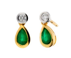 18ct Yellow Gold 0.35ct Emerald & 0.10ct Diamond Fancy Earrings