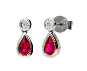 18ct White Gold 0.46ct Ruby & 0.08ct Diamond Fancy Earrings