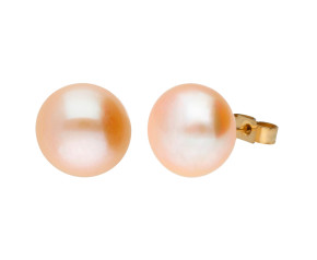 9ct Gold 11mm Freshwater Lilac Button Pearl Earrings