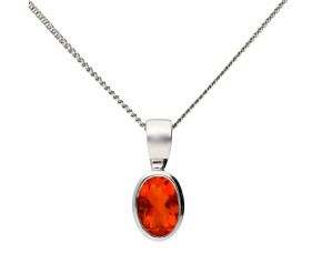 9ct White Gold 0.40ct Fire Opal Solitaire Pendant