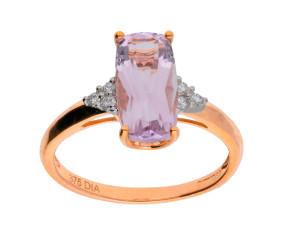 9ct Rose Gold 1.92ct Amethyst & Diamond Dress Ring