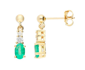 9ct Yellow Gold 6mm Emerald & Diamond Fancy Drop Earrings