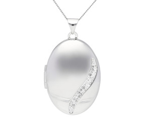 Sterling Silver Oval Wave Locket