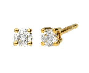 18ct Yellow Gold 0.25ct Diamond Solitaire Stud Earrings