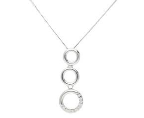 9ct White Gold 0.05ct Diamond Circle Drop Pendant
