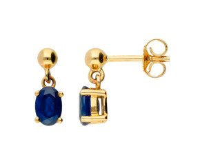 9ct Gold 0.80ct Sapphire Oval Drop Earrings