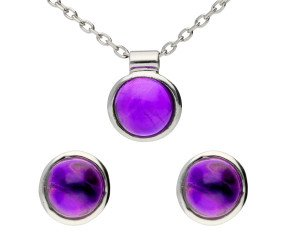 9ct White Gold Amethyst Earrings & Pendant Jewellery Set
