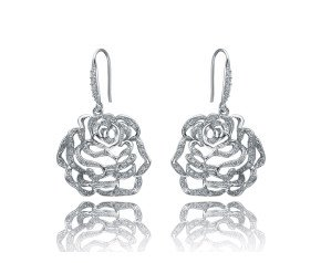 Sterling Silver Medium Stone Set Rose Drop Earrings