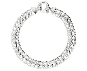 8mm Silver Handmade Flat Spiga Bracelet