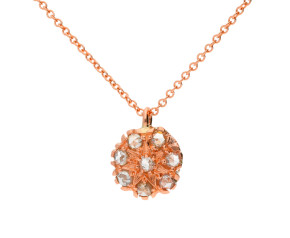 Handcrafted Italian 9ct Rose Gold Diamond Floral Cluster Pendant