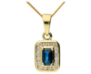 9ct Yellow Gold 0.50ct Sapphire & Diamond Cluster Pendant