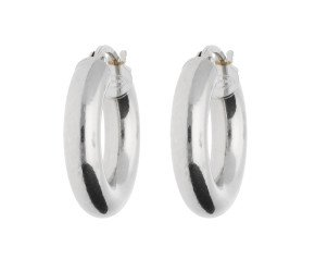 18ct White Gold Tube  Hinged Hoop Earrings