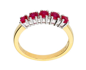 9ct Yellow Gold 0.60ct Ruby & Diamond Half Eternity Ring