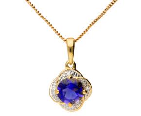 9ct Gold Iolite & Diamond Flower Pendant