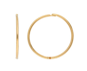9ct Yellow Gold 16mm Plain Hinged Hoop Earrings
