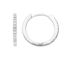 9ct White Gold 14mm Diamond Hoops
